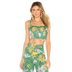 ALEXIS Kiddo Floral Print Crop Top in Garden Green